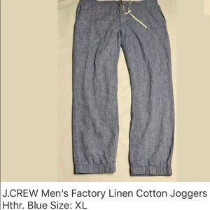 J.Crew Linen-Cotton jogger pant in Heathered Blue